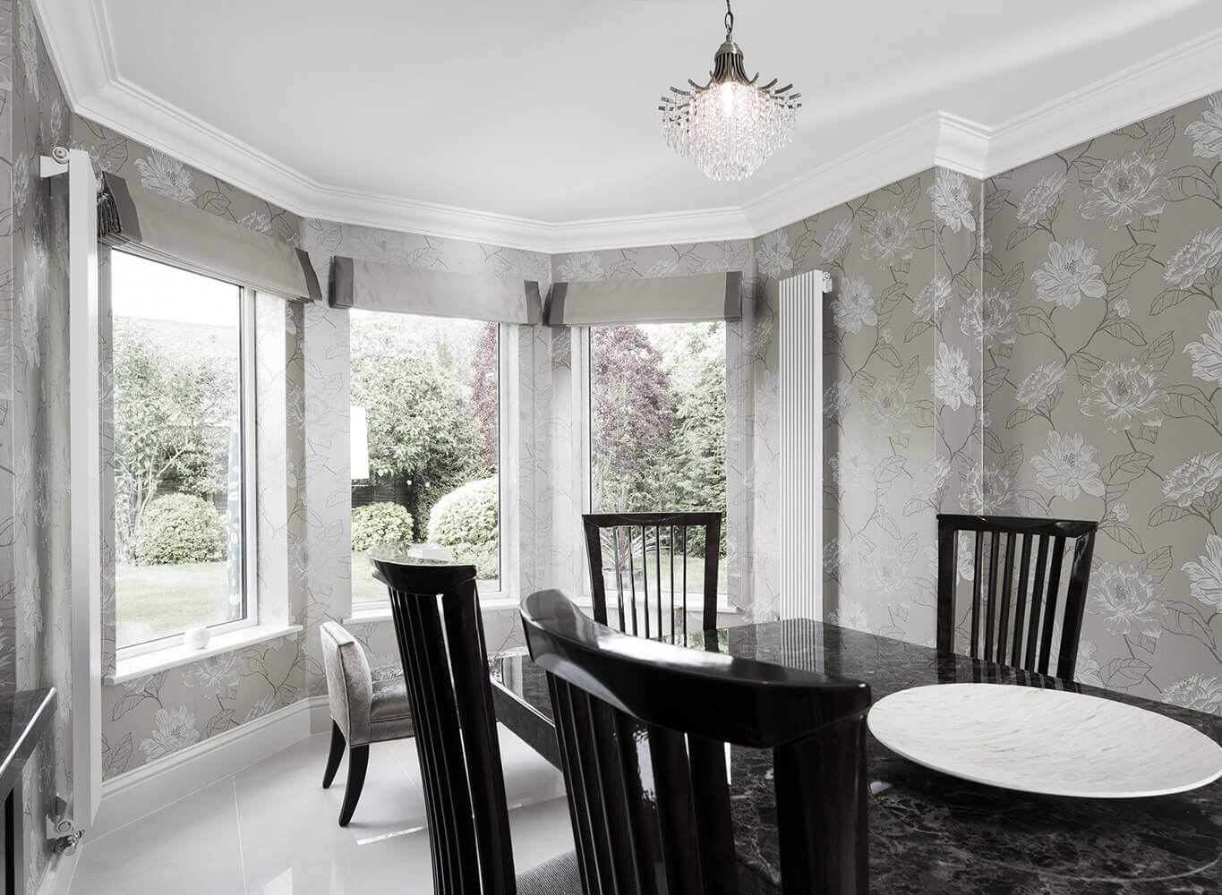 Dinner room with black table