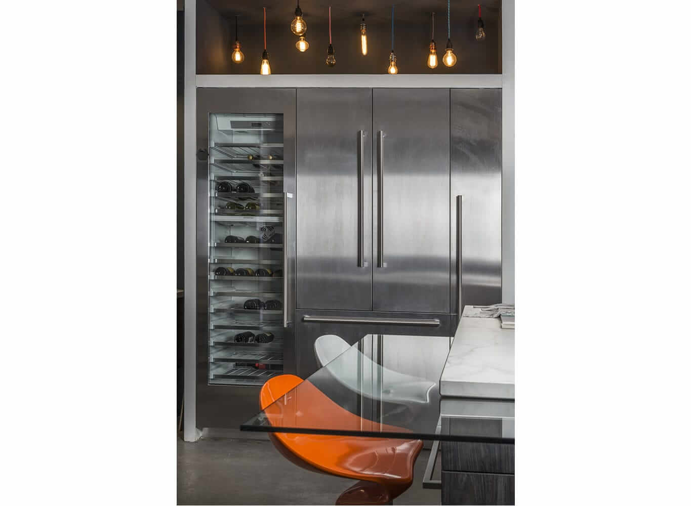 Glass kitchen with wine cooler