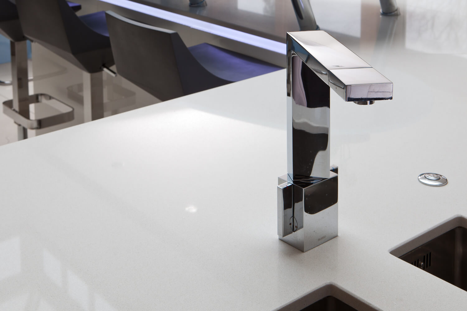 White desk with a tap